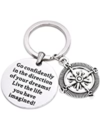 "LParkin - Ciondolo per collana/portachiavi, in acciaio INOX,con la scritta ""Go Confidently in the direction of your dreams"""