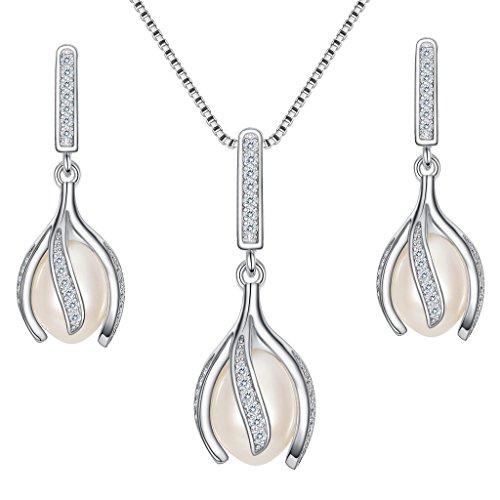 Clearine Damen 925 Sterling Silber Creme Tropfen Süßwasser-Zuchtperle CZ Blume Knospe Anhänger Halskette Dangle Ohrringe Schmuck Set (Schmuck Cz Kostüme)