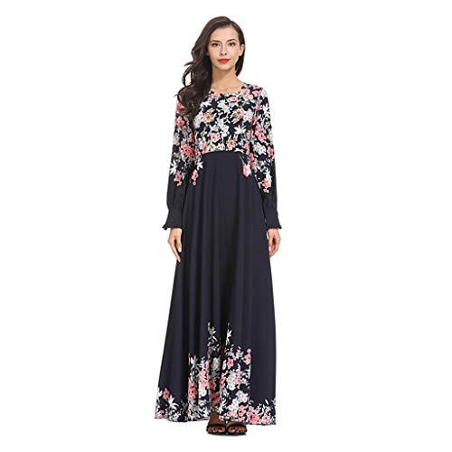 12f4ab378147 Muslim Dresses for Women Abaya,Sonnena Women Islamic Clothing Maxi Long  Dress Kaftan Printed Dress Abaya Muslim Robes Gown Navy