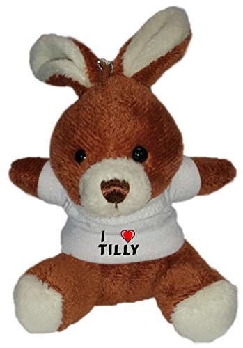 Plush Bunny Keychain with I Love Tilly (first name/surname/nickname)