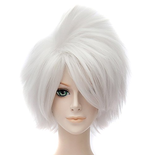 Argent Blanc Naruto Animée Courte Ligne Droite Perruque Pelucheux Cosplay Parti Perruques De Cheveux Complète