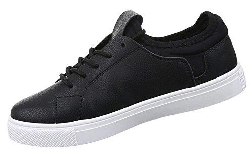 Damen Sneaker Schuhe Freizeitschuhe Low-top Halbschuhe Schwarz weiss blau grün 36 37 38 39 40 41 Schwarz