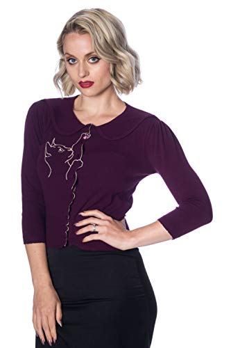 Verbotene Cat Scallop Collar Cardigan - 8 Farben erhältlich - Aubergine/UK-14 Brown Scallop