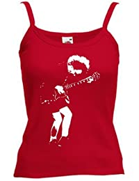 Angus Young (Design one) PRINTED ON LADIES STRAPPY T-SHIRT