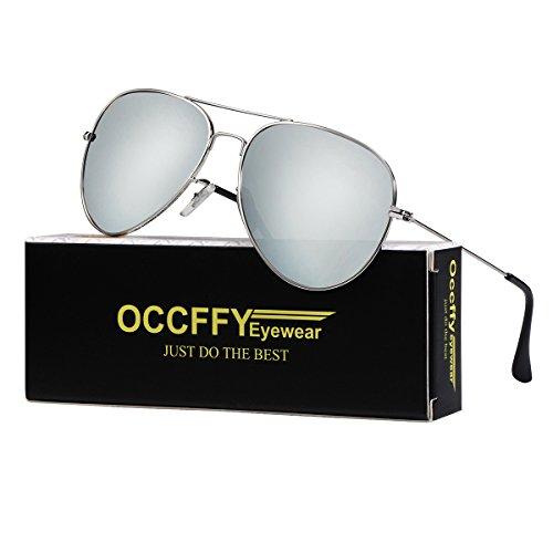 Occffy Pilotenbrille Sonnenbrille für Herren und Damen UV400 Schutz Metall Rahmen (Silberrahmen mit Silber Spiegellinse)