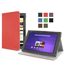 Cover-Up – Funda para Sony Xperia Z2 Tablet (26,6 cm, 10,1 Pulgadas Tableta) (Versión con Soporte) - Color Rojo