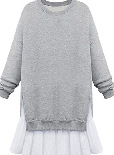 Azbro Women's Long Sleeve Round Neck Sweatshirt Dress Grey