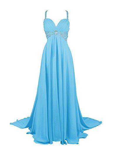 Dresstells, Robe de soirée Robe de cérémonie Robe de gala emperlée bustier en cœur traîne watteau Bleu
