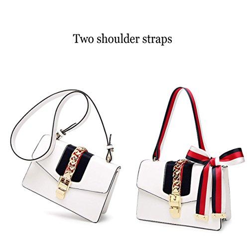 Borsa a tracolla con tracolla donna con due tracolle, borsa a mano elegante borsa a mano White