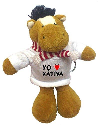 Caballo de peluche (llavero) con Amo Xàtiva en la camiseta...