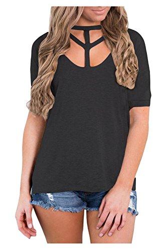 Issza Damen Sommer Casual Kurzarm V-Ausschnitt Vorne Loch T-Shirt Bluse Tops Schwarz L Passen Sie Ihr Eigenes T-shirt