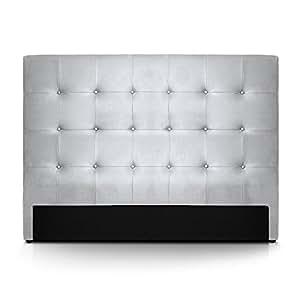 Intense Déco - Tête de lit capitonnée Premium 160cm Argent