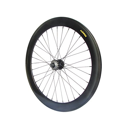 RIDDOX 700C 28 Zoll Hinterrad Fixie Singlespeed Hochflansch Fixed Gear Wheel Schwarz Matt 60 MM