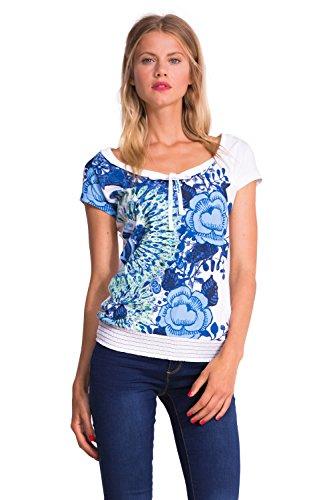 Desigual Damen, Empire, T-Shirt, Ts_Cherain Weiß (Blanco)