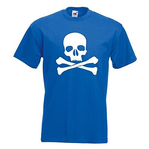 KIWISTAR - Totenkopf - Todessymbol - Piratenzeichen T-Shirt in 15 verschiedenen Farben - Herren Funshirt bedruckt Design Sprüche Spruch Motive Oberteil Baumwolle Print Größe S M L XL XXL Royal
