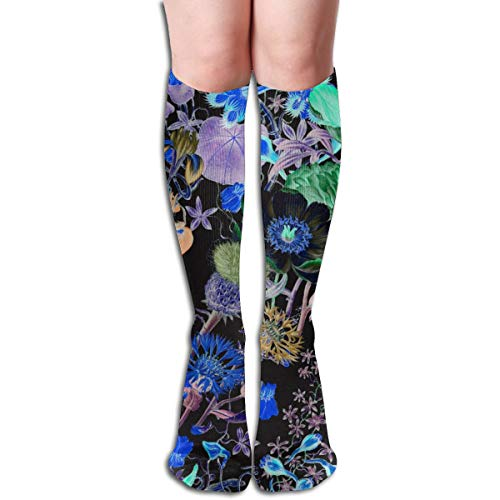 Women's Fancy Design Stocking Bloomin' Lovely ~ Nightshade Multi Colorful Patterned Knee High Socks 50cm(19.6Inchs)