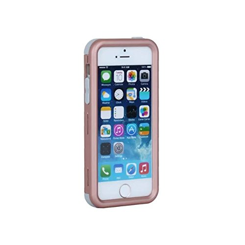 iPhone 5 5S 5C Hülle,iPhone SE Hülle,Lantier Slim Matt Matt Finish Design Shockproof Hybrid Dual Layer Defender Schutz Fall Deckung für Apple iPhone 5/5S/5C/SE Rose Gold+Rosa Rose Gold+Grey