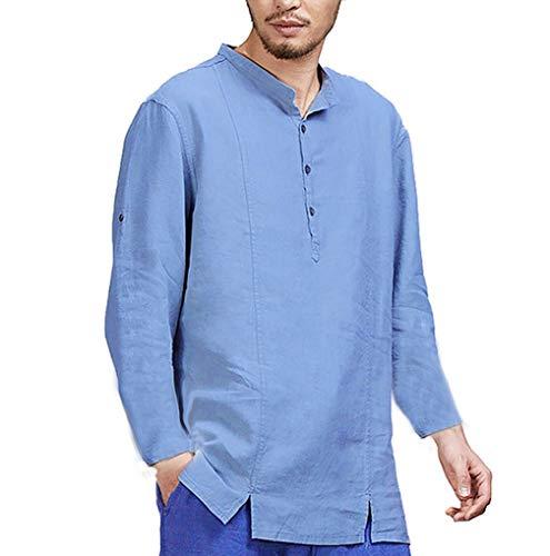 910bc52cd Mens Plain Grandad Collar Shirts TUDUZ Men Henley Neck Roll Up Solid Long  Sleeve Cotton Linen