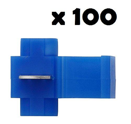 100 x Cosse Electrique Connecteur Rapide Bleu - Raccords Auto-Dénudants (Dérivations) - Lot de 100 Cosses Electriques (Pour fils jusqu'à 1.1mm to 2.6mm²) - LIVRAISON GRATUITE!