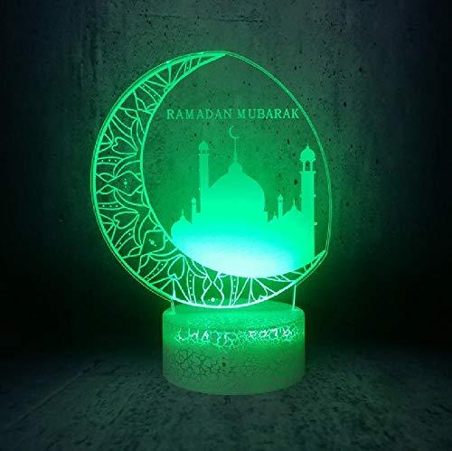 Big Moon City 3D Led Nachtlicht Ramadan Mubarak Religion Zeichen Lampe Home Room Decor Geschenke Für Familienmitglieder