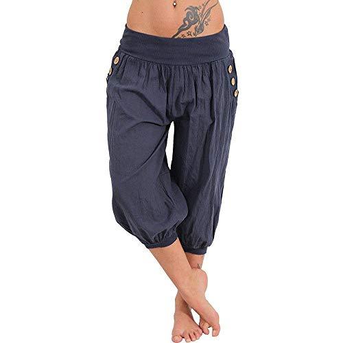 Doublehero Damen Blumen Druck Freizeithose Strandhose Haremshose Yoga Hose High Taille Weich Bequem Lose Sporthose mit Taschen (XXXXL, Navy)