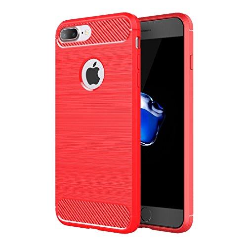 Pour iPhone 7 Plus Fibre de texture brossée TPU Rugged Armor Protective Case JING ( Color : Green ) Red