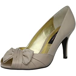 Nina Women s Forbes Satin Peep-Toe Pump Powder Sand Luster 6. 5 B(M) US