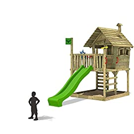 FATMOOSE Spielhaus WackyWorld Mega XXL Spielturm Kletterturm mit Rutsche, Holzdach, Kletterleiter und großem Sandkasten