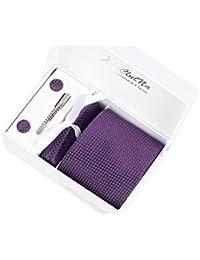 Coffret Cadeau Ensemble Cravate homme, Mouchoir de poche, épingle et boutons de manchette Violet avec points en Argent