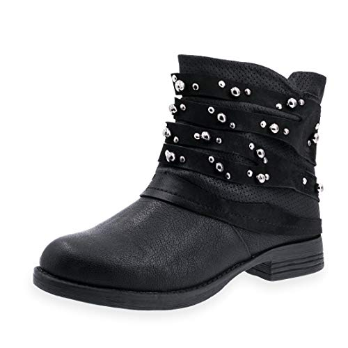 Marimo Damen Nieten Stiefel Biker Boots Stiefeletten in Lederoptik Schwarz 40