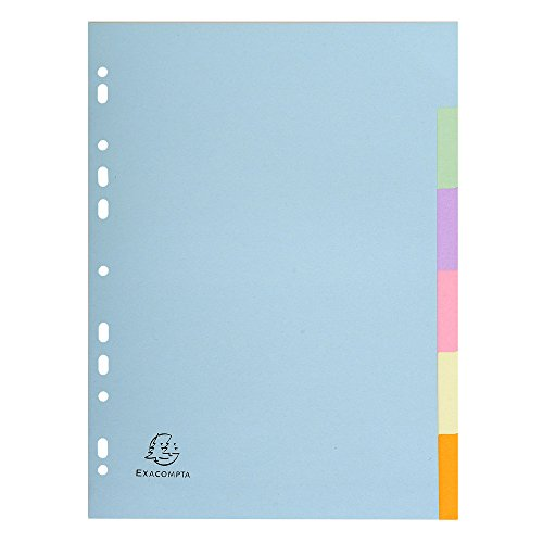 Exacompta - Réf 1606E - Un Paquet de 6 Intercalaires en Carte Recyclée 170 g/m² A4 Couleurs Assorties