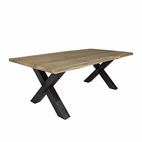 Pharao24 Eiche Esstisch mit Baumkante X-Fuß Breite 220 cm