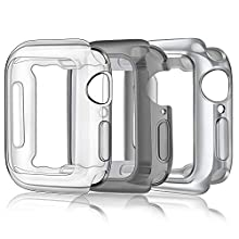 Amzpas Pack 3 Cases Compatible with Apple Watch Case, iWatch Overall Protective Case TPU HD Clear Ultra-Thin Cover for (44mm for Series 4/5, Pure clear+Silver+Black clear)