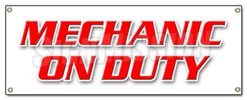 Sinluen Funny Geschenk Mechaniker auf Pflicht Banner Schild Werkstatt Automotive Mechaniker Werkzeuge Wartung Outdoor Metall Aluminium Schild, Dekoration -