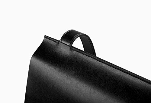 Uomo Donna Messenger Borsa Computer Portatile Pelle Quadrato Viaggio Cartella Retro Signore Borsa Shopper Black