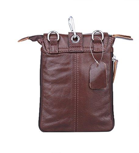 Genda 2Archer Männer Kleine Mini Flapover Tasche aus echtem Leder Cross Over Umhängetasche (Schwarz) Braun