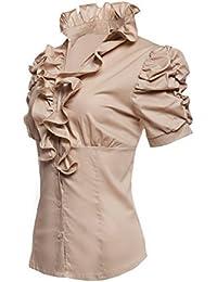 36601fdd1ae30 Laeticia dreams volants chemisier à volants pour femme à manches courtes  chemise s m l xL ...