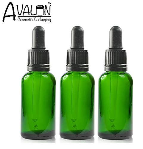 DREI Grün Glasflasche (30ml) mit Tropfer Pipetten. Geeignet für AAlterantive Therapien, Kunst, Basteln, Erste Hilfe, Bartöl, Haaröl, Seren, Duftend Öle usw. -