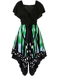 OVERDOSE Damen Boho ärmellos Sommerkleid Frauen Sleeveless Schmetterlings Drucken Asymmetrie Bügel Kleid Butterfly Tube Kleid Strandkleider Partykleid Abendkleid Minikleid