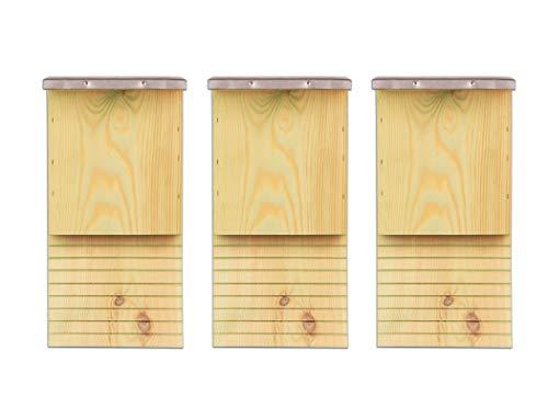 BigDean 3X Fledermauskasten Fledermaushaus für Fledermäuse Fledermaus Unterschlupf Nistkasten Haus