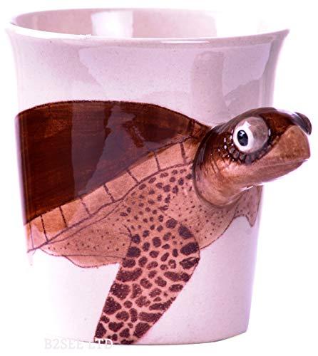 b2see Tier-Hunde-Katzen-Tassen-3d Keramik-Becher-Tassen-mit-Tier-Hunde-Katzen-Motiv-Bild (Schildkröte)