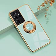 YoYoTech Luxury Silicone TPU Shockproof Ring Holder Kickstand Slim Plated Phone Case Cover for Samsung Galaxy