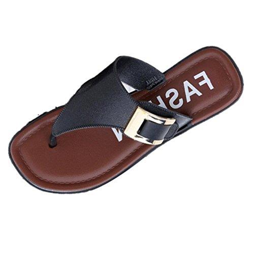 Omiky® Casual Beach Frauen Slipper Sandalen Sommer Home Flat Flip Flops Schuhe Schwarz