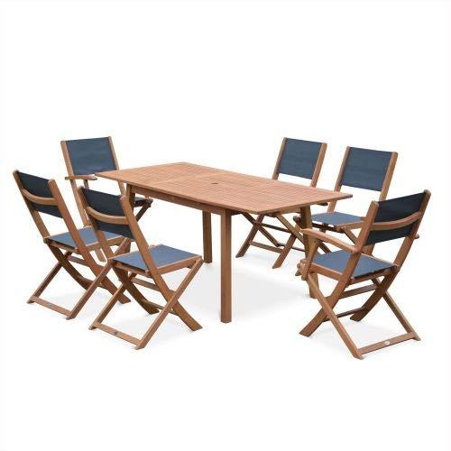 Salon de Jardin en Bois Extensible - Almeria - Table 120/180cm avec rallonge, 2 fauteuils et 4 chaises, en Bois d'Eucalyptus FSC huilé et textilène Anthracite