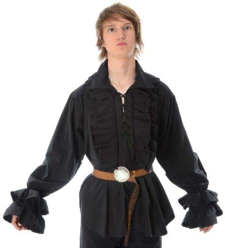 HEMAD Rüschenhemd Piraten-Hemd Baumwolle schwarz XXXL