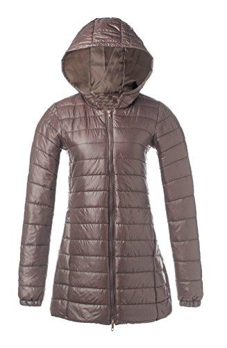 9af948f1a196 Ghope Damen Mittellang Daunenjacke Mantel Jacke mit Kapuze Warme Winter  Ghope Daunenmantel Steppmantel Slim Fit Braun