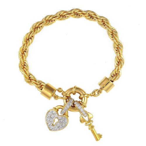 Cristalina Halskette 18 kt vergoldet Vintage Herz Schloss &Charms massives Armband 19 cm (Kostüm Ballroom Strictly)