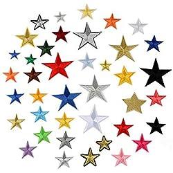 Juland 36PCS Patch Ricamate Pentagramma Autoadesivo Ricamato Toppe Personalizzate per Zaino a Cinque Punte per Uomini, Donne, Ragazzi, Ragazze, Bambini