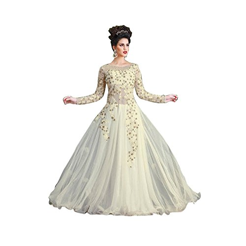 Rudra Fashion Women's Net Gown (White_Free Size)