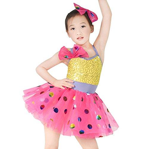 MiDee Kinder Hemdchen, Oder So Was Pailletten Polka Dots Ballett Kostüm Tanz Kleid (Mehrfarbig, XXSC)